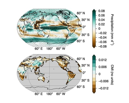 "Local anomalies in rainfall (top) and the ""climate moisture index"" (CMI; bottom) from 1860 to 2019 across the globe. Brown shows drying while green shows increases in rainfall and moisture."